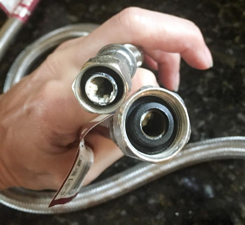 8 year old stainless steel braided hose (cold) sediment accumulation